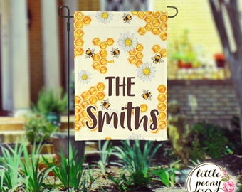 Personalized Garden Flag - Honey and Bee Custom Yard Flag
