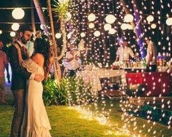 LED curtain fairy string lights, Wedding, home, garden, party, decorations. Rustic wedding, backdrop lighting 6x3 m