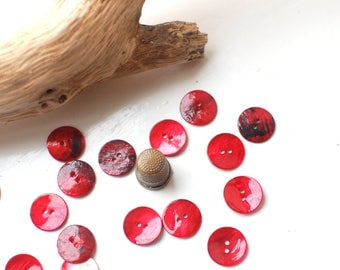 5 round red mother of pearl buttons, natural shell round buttons 18mm or 3/4 inch in red