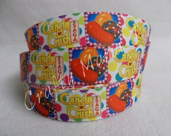 """Candy Crush Game on 1"""" Grosgrain Ribbon by the yard. Choose 3/5/10 yards."""