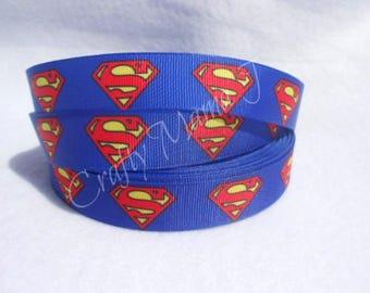"Superman Logo Super Hero 7/8"" Grosgrain Ribbon by the yard. Choose between 3/5/10 yards."