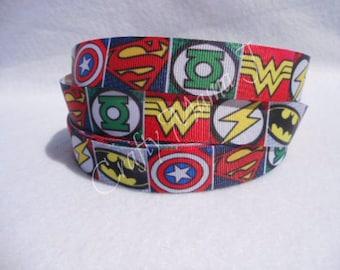 "Mixed Super Hero 1"" Grosgrain Ribbon by the yard. Choose between 3/5/10 yards.  Wonder Woman, Flash, Green Lantern, Batman, Superman"