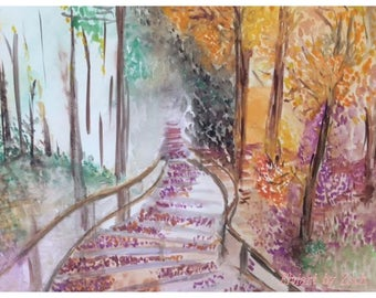 Watercolor painting, autumn, fall of the leafs
