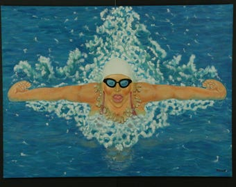 "Mix Media Painting/Sculpture Titled:""Woman, Competitive Swimmer"" 48''x36''"