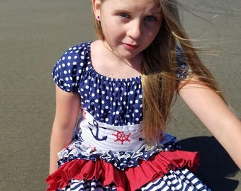 Girls Nautical Dress, Anchor Dress, Sailor Dress, Summer Dress, Patriotic Dress