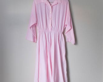 Vintage 70s 80s The American Shirt Dress Pink Large L Medium M