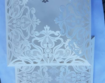 White Laser Cut Invitations (pocket only)