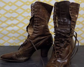 Brown Leather Antique Granny Boots