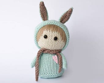 """Knitted toy """"Mint Rabbit"""""""