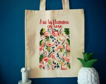 """tote bag or tote bag """"I am lazy in pink"""""""