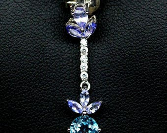 Superb pendant in gold plated S925 silver white topaz blue sky and Tanzanites