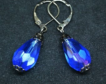 Electric Blue Glass Drop Earrings