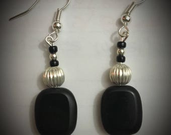 Black square stone and silver earrings