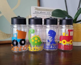 Personalized Kids water bottle. double wall water/sport kids bottle with straw. Insulated water bottle for kids. Birthday favor.