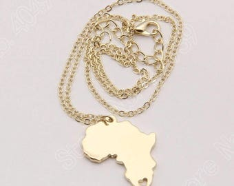 Africa Map Necklace - Gold plated/ Silver