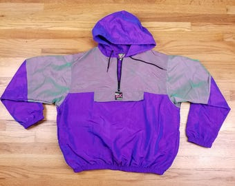Vintage 90s Surf Style Purple and Green Jacket Windbreaker