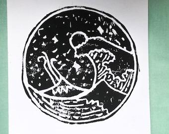 Black and White Minimalist Wave Lino Print