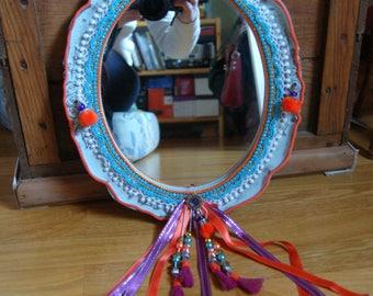 Blue/fuchsia/orange Bohemian mirror
