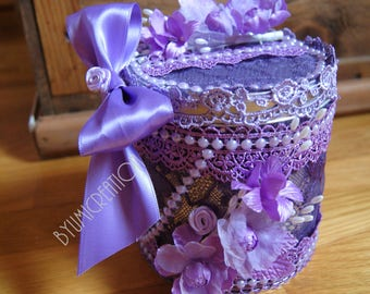 Purple/lavender color metal box