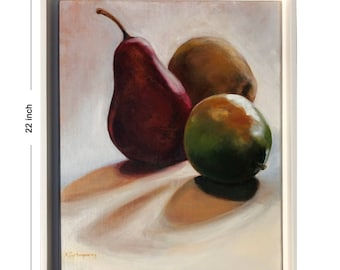 painting of 3 pears