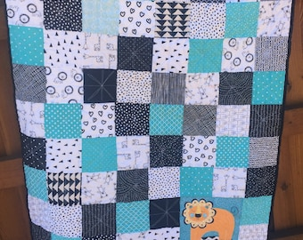 """Baby Quilt Black White Teal with Colorful Lion Gender Neutral Modern Baby Quilt 35"""" x 43"""""""