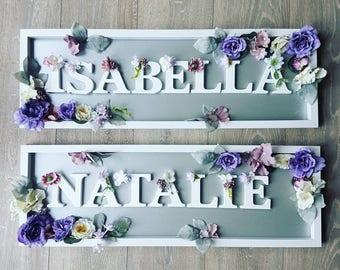 Floral framed letter, floral framed name, Letter, framed name, floral name, floral letter, flower frame, nursery name, nursery letter, decor
