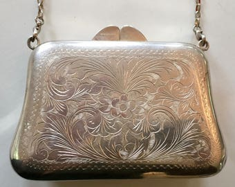 STERLING EVENING CLUTCH w/chain