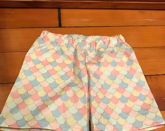 Pastel cotton fish scale pattern shorts