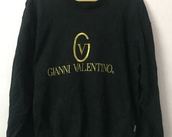 SALE ! Vintage GIANNI VALENTINO sweatshirt big logo embroidery Size M