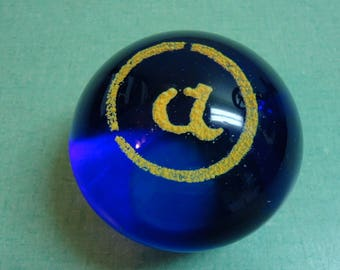 "Vintage Glass Paperweight, Vintage Paperweight Initial ""A"", Vintage Blue & Clear Glass Paperweight, Vintage Paperweight"