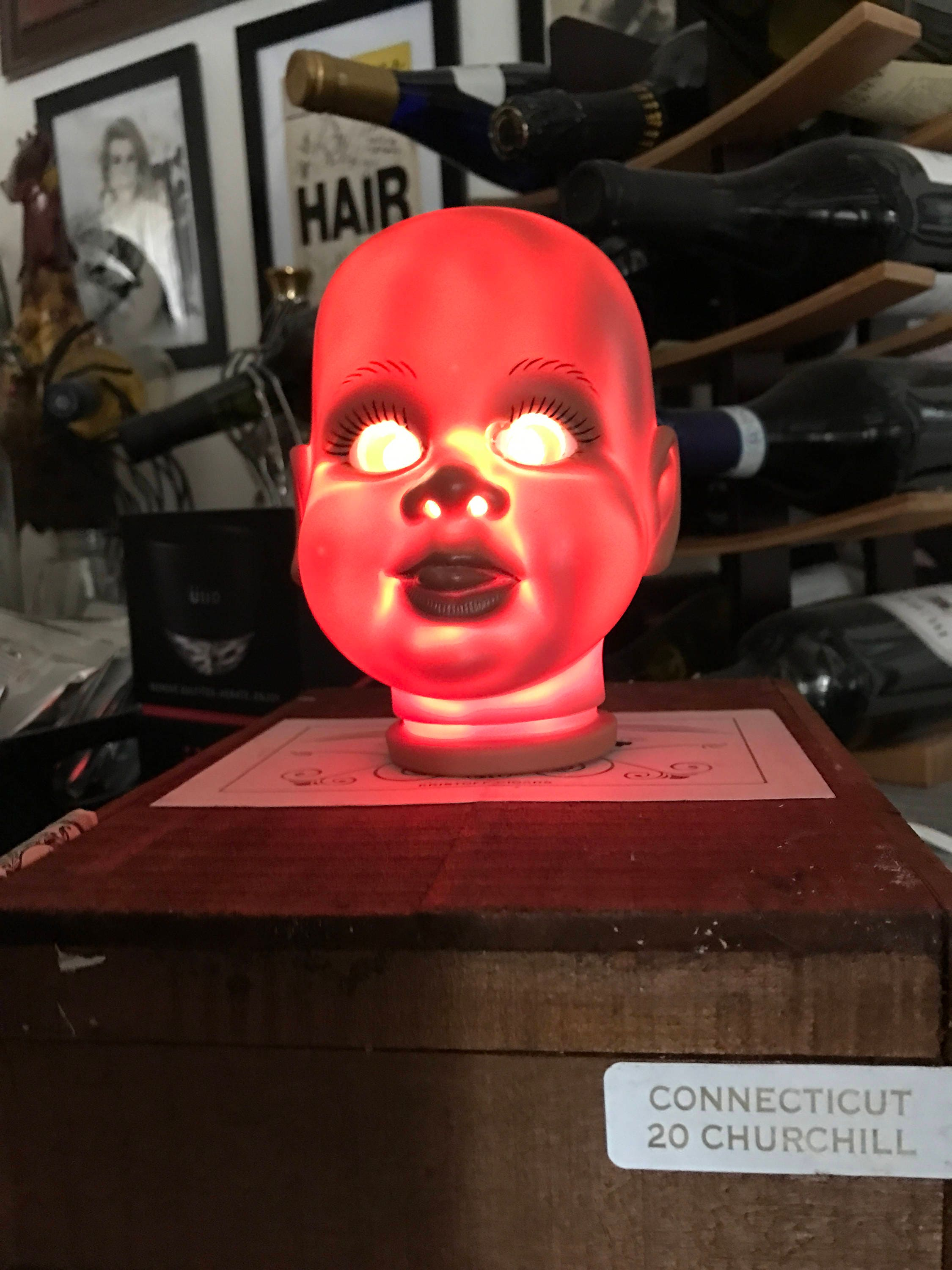 Sherman   Doll Head Lamp Mounted On Wooden Cigar Box With On/Off Switch U0026