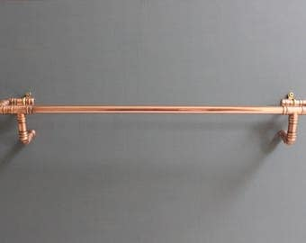 Copper Bathroom Towel Rail, Towel Holder, Copper Pipe, Handmade Bespoke Industrial Metal Vintage Retro Upcycling