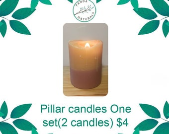 Set of two pillar candles