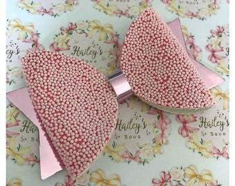 Pink Hundreds & Thousands Metallic Bow Girls Glitter Hair Bow Headband