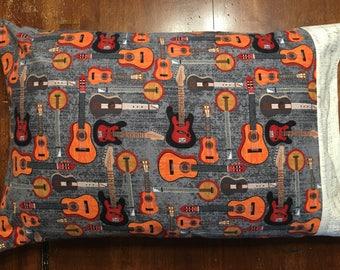 Guitar themed pillowcase, electric guitar, acoustic guitar, banjo, music, band, bedding, pillow cover, boy gift, girl gift