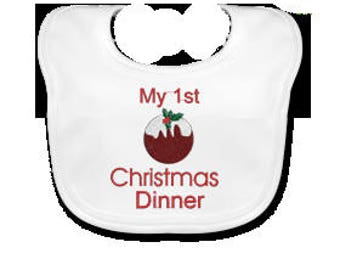 My 1st Christmas Dinner Embroidered baby's Bib
