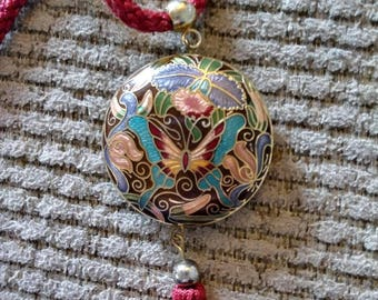 Cloisonne butterfly pendant tassel necklace