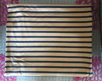 Mocha and navy stripe tubular jersey knit