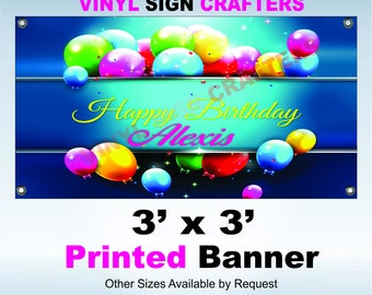 Birthday Banner 3' x 3' Print only : other sizes by request