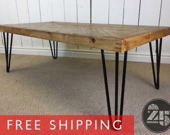 Hand Crafted Vintage Rustic Style Rectangular Coffee Table With Retro Eames Style Hairpin Legs. Solid Wood Bespoke Table Herringbone Design