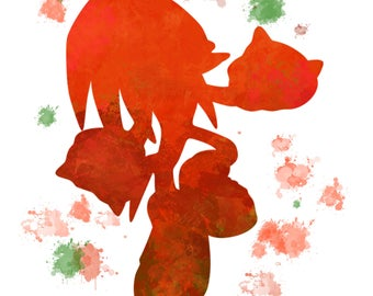 Knuckles watercolor print, home decor,wall art, digital download.
