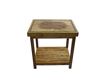 Reclaimed Wood End Table from Recycled Wyoming Snow Fence - Starburst Pattern