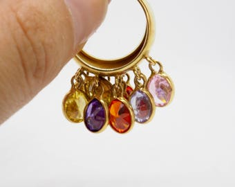 Fancy ring with movable color stones 14 K