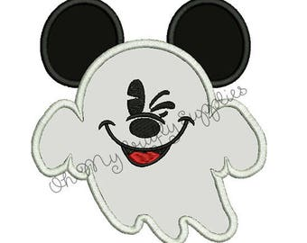 Ghost Mouse Applique Embroidery Design
