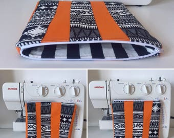Handmade Orange Canvas Zipped and Lined Make-Up Bag with Monochrome Aztec Print