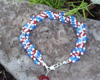 Red, White & Blue Spiral Beaded Bracelet