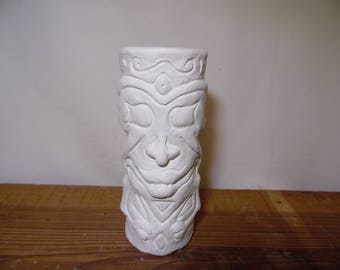 Ceramic Bisque Ready to Paint Tiki Tall Glass