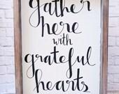 Grateful Hearts Wood Framed Sign