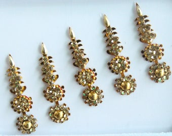 5 Gold/Silver Face Bindis Jewels,Wedding Long Bindis Stickers,Stone Bindis,Gold Bindis,Bindis,Bollywood Bindis,Bindis,Self Adhesive Stickers