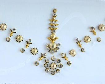 Gold Forehead Festival Bindi Stickers,Wedding Long Bindis,Bridal Gold Bindis,India Bindi,Bollywood Bindi,Long Bindis, Self Adhesive Stickers